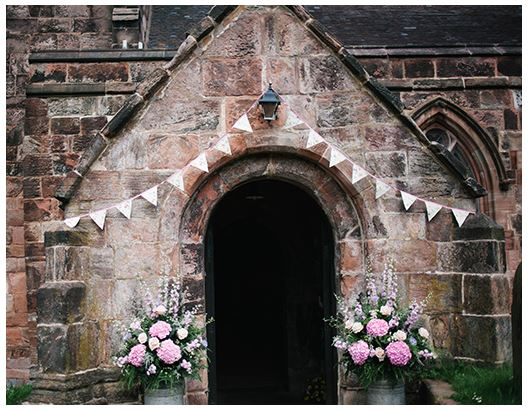 church porch decorated for wedding